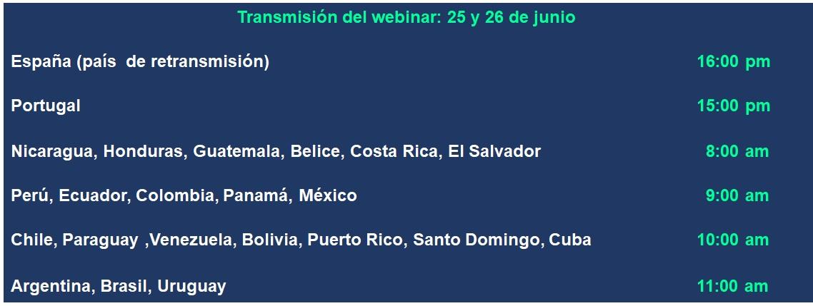 Horarios VII Curso de Verano FINUT (horas en países de Iberoamérica)