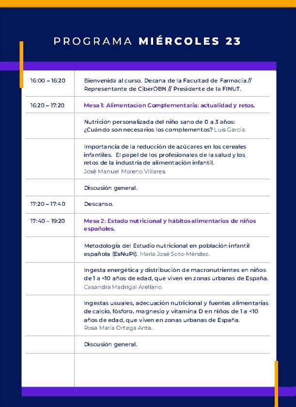 Programa miércoles VII CURSO FINUT AVANCES NUTRICIÓN PEDIÁTRICA