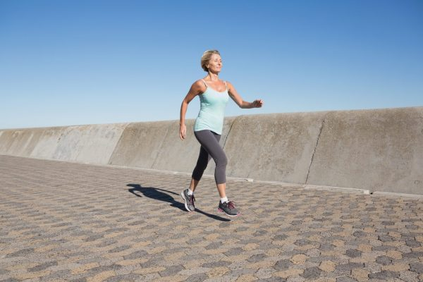middle age woman running